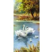 DIY 5D Handmade Diamonds Embroidery Painting Set White Swan Round Diamond Pasted Cross Stitch Mosaic Home Decoration 30 * 56cm