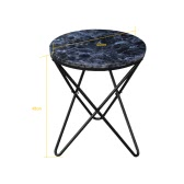 iKayaa Modern Round End Table Metal Sofa Couch Coffee Table Marble-Like Top Accent Table 20kg Capacity