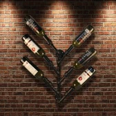 iKayaa Industrial 6 Bottle Wall Mount Wine Rack Metal Hanging Bottle Holder Steampunk Pipe Design