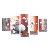 "5-Panel 36""*60"" Hand Painted Oil Painting Flower & Pot Unframed Canvas Wall Picture Wall Decoration Paintings Beautiful Room Decoration 90*150cm Painting Home Decoration Housewarming Gift"