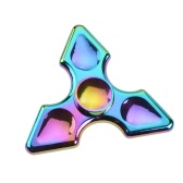 New Hot Premium Metal Zinc Alloy Tri Fidget Hand Finger Spinner Spin Triangle Widget Focus Toy EDC Pocket Desktoy Gift for ADHD Children Adults Relieve Stress Anxiety Rainbow Color