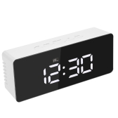 Digital LED Mirror Clock 12H/24H Alarm and Snooze Function °C/°F Indoor Thermometer Adjustable LED Luminance