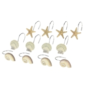 12pcs/set Shower Curtain Hooks for Shower Rod Beach Themed Seashells Curtain Hooks Set Starfish Shower Curtain Hooks