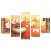 "5 Panel 36""*60"" Flower & Pot Hand Painted Oil Painting Unframed Canvas Wall Picture Wall Decoration Paintings Beautiful Room Decoration 90*150cm Painting Home Decoration Housewarming Gift"