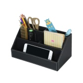 Multi-functional PU Leather Desktop Organizer Storage Box Holder with 5 Compartments for Remote Control Cell Phones Office Supplies