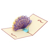 Handmade 3D Pop Up Birthday Card Kirigami Hollow Folding Greeting Christmas Postcard with Envelope Colorful Peacock Design