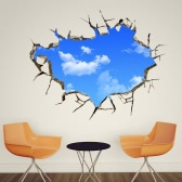 Decorative Self Adhesive Living Room Bedroom 3D Blue Sky Broken White Clouds Decal Removable Mural Wall Art Sticker Home Decor DIY