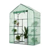 iKayaa Outdoor Garden 3 Layer Mini Walk In Greenhouse W/ 4 Shelves Reinforced PE Cover Metal Frame 143*73*195cm(L*W*H)
