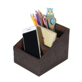 Multi-functional PU Leather Desktop Organizer Storage Box Holder with 3 Compartments for Remote Control Cell Phones Office Supplies