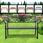 "iKayaa 50"" Cast Iron OutdIKAYAA 50"" Cast Iron Outdoor Patio Bench Garden Chair Metal Deck Path Lawn Seat Chairoor Patio Park Garden Bench Furniture Metal Deck Porch Backyard Lawn Seat Chair"