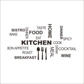 Self Adhesive Kitchen Utensils Tableware Dining Word Montage Wall Decal Mural Art Sticker Home Restaurant Decor DIY