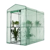iKayaa Outdoor Garden Large Walk In Greenhouse W/ 4 Shelves Reinforced PE Cover Metal Frame 1.2*1.9*1.9M(L*W*H)