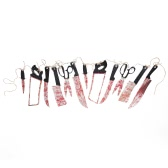 12pcs/Set Halloween Bloody Weapon Garland Scary Butcher Knives Hanging Decoration Haunted House Banner Decor