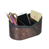 Multi-functional PU Leather Desktop Organizer Storage Box Holder with 3 Compartments for Remote Controls Pencils Makeup Brushes