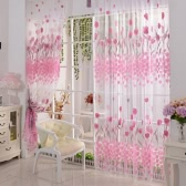 "2Pcs 100*200cm Fantasy High-end Tulip Floral Pattern Door Curtains Window Curtains Door Voile Curtain Window Drape Room Divider Wall Setting Wall Decoration Classy Window Treatments Size 39""*79"""