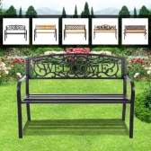 "iKayaa 50"" Cast Iron Outdoor Patio Bench Garden Chair Metal Deck Path Lawn Seat Chair"