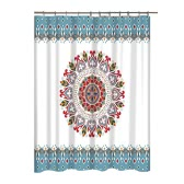 Mandala Flower Pattern Bathroom Curtain  Mildew-Resistant Shower Curtain  Polyester  Non-Smelling  with Hook