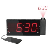 "Multi-functional Digital Dimmable Projection Alarm Clock FM Radio with 1.8"" LED Display USB Charging Port Dual Alarm Battery Backup"