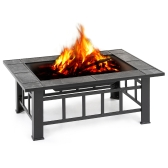 iKayaa Metal Garden Backyard Fire Pit Patio Rectangular Firepit Stove Brazier Outdoor Fireplace W/ Firepit Cover & Poker + BBQ Grill