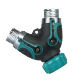 2 ways All Metal Body Hose Splitter Bolted and Threaded for Outdoor Faucet Sprinkler and Drip System Ball Valve Garden Water Hose Y Connector