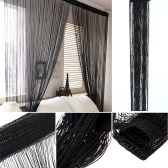 "2Pcs 100*200cm Solid Color Fantasy High-end Door Thread Curtain Window String Curtain High-quality Room Divider Gorgeous Setting Wall Decoration Classy Strip Tassel Window Treatments Size 39""*79"""
