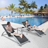 iKayaa Fashion 3PCS Patio Chaise Lounge Chair Set Furniture W/ Table Outdoor Sun Lounger Set Textilene + Iron Construction