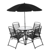iKayaa 6PCS Outdoor Patio Dining Furniture Set W/ Tilt Umbrella Metal Garden Dining Table Chairs Folding Design