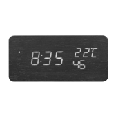 Wooden LED Digital Alarm Clock USB & Battery Operated Sound Control Clock with Year Month Date / Hour Minute Second / Temperature Display 3 Alarms Settings--Black
