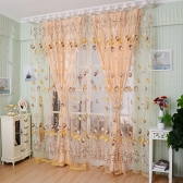 2PCS 1M*2M Elegant Window Door Curtains Sheer Voile Tulle for Bedroom Living Room Balcony Kitchen Shop Decoration Printed Tulip Pattern Sun-shading Curtain Home Textile Decor