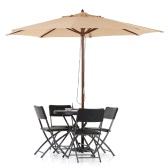 iKayaa 3M Wooden Patio Garden Umbrella Sun Shade Outdoor Cafe Beach Parasol Canopy 8 Ribs 48MM Pole W/ Air Vent 180g Polyester