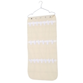 40-pockets Non-woven PVC Dual-sided Hanging Jewelry Organizer Necklaces Bracelets Ear Rings Storage Bag Holder with Hanger for Closet Travel--Beige