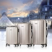 "TOMSHOO Luxury Shiny 3PCS Luggage Set Carry-on Suitcase PC + ABS Trolley 20""/24""/28"" Hard Shell TSA Lock Spinner Set"