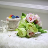 Anself 10 Flower Head Artificial Fake Peony Bouquet for Home Wedding Decoration