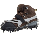 1 Pair 12 Teeth Claws Crampons Non-slip Shoes Cover Stainless Steel Chain Outdoor Ski Ice Snow Hiking Climbing Grey