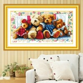 DIY Handmade Needlework Cross Stitch Set Embroidery Kit Precise Printed Bear Family Design Cross-Stitching 66 * 38cm Home Decoration
