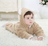 Unisex One-Piece Warm Thick Fleece Siamese Romper Jacket Coat for Baby Boy Girl Kids Toddler Animal Style Autumn & Winter Open Legs Brown