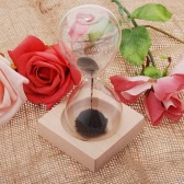1pcs Magnet Hourglass Awaglass Hand-blown Timer Desktop Decoration Magnetic Hourglass Black