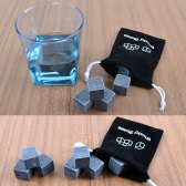9pcs Whisky Ice Stones Drinks Cooler Cubes Beer Rocks Granite  Pouch
