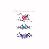 Tattoo Sticker Rose Butterfly Pattern Waterproof Temporary Tattooing Paper Body Art