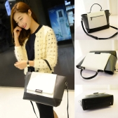 Fashion Women OL Handbag PU Leather Color Block Magnetic Button Tote Crossbody Messenger Bag