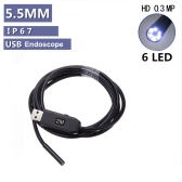 Waterproof 5.5mm USB Inspection Borescope Endoscope Snake Scope 6pcs LED 2M Cable