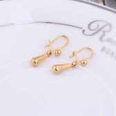 1Pair 18K Gold Plated Water Drop Earrings Dangle Pendant Clasp Clip Jewelry Gift for Women Lady
