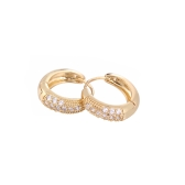 1Pair Clear Crystal Zircon 18K Gold Plated Vintage Retro Hoop Earrings Jewelry Gift for Women Lady
