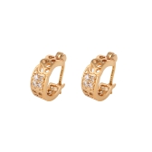 1Pair Clear Crystal Zircon 18K Gold Plated Vintage Retro Clover Hollow Wide Hoop Earrings Jewelry Gift for Women Lady