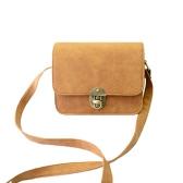 New Vintage Women PU Bag Twist Lock Flap Casual Shoulder Crossbody Bag