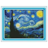 DIY Handmade Needlework Counted Cross Stitch Set Embroidery Kit 14CT Starry Night Pattern Cross-Stitching 47 * 37cm Home Decoration
