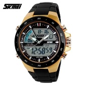 SKMEI 5ATM Waterproof Fashion Men LCD Digital Stopwatch Chronograph Date Alarm Casual Sports Wrist Watch 2 Time Zone