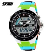 SKMEI 5ATM Waterproof Fashion Men LCD Digital Stopwatch Chronograph Date Alarm Casual Sports Wrist Watch 2 Time Zone