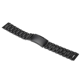 Black Stainless Steel Watchband Deployment Clasp Straight Ends Watch Strap Replacement 18mm