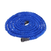 50FT Expandable Ultralight Garden Hose Fittings Set Flexible Water Pipe + Faucet Connector + Fast Connector + Valve + Multi-functional Spray Nozzle Blue